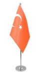 Turkey Desk / Table Flag with chrome stand and base